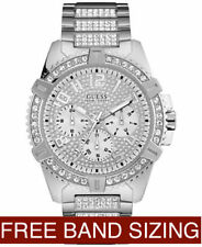 NEW AUTHENTIC GUESS WOMEN'S MEN'S UNISEX SILVER STAINLESS STEEL WATCH U0799G1