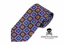 Lord R Colton Masterworks Tie Plug In Baby Purple Brown Silk XL Necktie $195 New