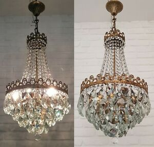 Matching Pair  Antique Vintage Brass & Crystals French Empire Chandeliers