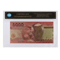 Creative Souvenirs Chile Colorful Gold Banknote 5000 Pesos Gold Money In COA