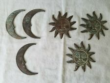 Three Metal Sun Face and Three Metal Half Moon Loose Pieces from Windchime