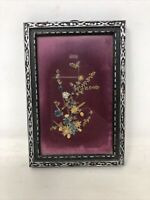 """Vintage Framed Dried Flowers Picture Silver Frame 6.5"""" x 4.5"""" Boho 1960s"""