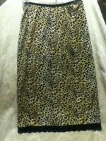 Jonathan Martin Slip Skirt Leopard Satin Black Lace Stretch Pencil Straight Midi