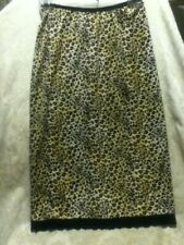 Jonathan Martin Slip Skirt Leopard Satin Black Lace Stretch Pencil Straight Midi