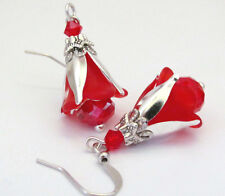 ROSE Earrings ~ ROSE RED Lucite DANGLE FLOWER FRENCH Bud CRYSTAL HOLIDAY JEWELRY