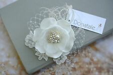 Bridal Headpiece Wedding Hair Piece Ivory Fascinator Lace Hair Clip Hair flower