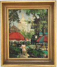 MARCEL HARANGUE LISTED FRENCH ARTIST Oil on Canvas Street Scene Outdoor Cafe