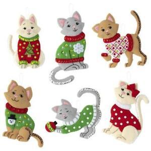 Bucilla Felt Ornaments Applique Kit Set of 6 - Cats In Ugly Sweaters