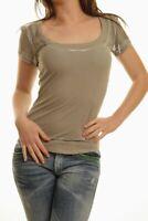 T-Shirt Maglietta Donna Maniche Corte SEXY WOMAN Beige/Kaki A926 Tg S