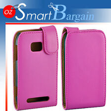 Premium PINK Flip Leather Case Cover For Nokia Lumia 710 + Screen Protector
