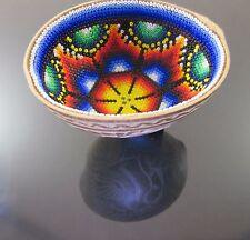 HUICHOL Beaded Art Prayer Bowl Carved Gourd Mexican Handmade Peyote Folk Art