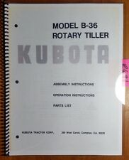Kubota B 36 Rotary Tiller For B 5100 Tractor Owner Operator Amp Ass Amp Parts Manual