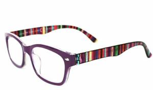 Foster Grant Reading Glasses Womens Designer Readers Leanna Purple Rainbow +2.00