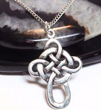 "CELTIC CROSS_Pendant on 18"" Chain Necklace_Irish Knot Trinity Charm Silver_232N"