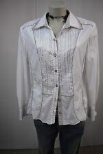 GERRY WEBER Elegante Bluse Hemd Klassisch Stretch 44 Weiß-Taupe Langarm TOP