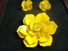 Vintage Yellow Enameled Copper Flower Brooch Pin & Matching Screw-on Earrings
