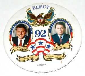 """1996 BILL CLINTON AL GORE 3"""" campaign pin pinback button political presidential"""