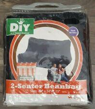 "DIY 2 Seater Black Bean Bag Corduroy Cover 48"" x 36"" x 25"""