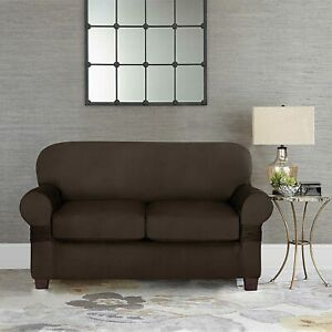 """Sure Fit Designer Suede 2 Cushion Love Seat Slipcover / Chocolate Fits 58"""" - 73"""""""