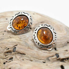 Vintage Southwestern PS Sterling Silver 925 Amber Tribal Clip Earrings 5 Grams
