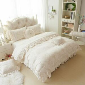 4/6pcs Princess Style Velvet Bedding Sets Cotton Warm Bed Linens Full Queen King