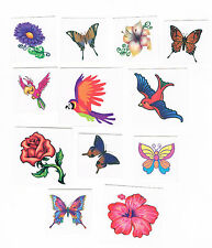 12 x Kids Temporary Tattoos - Party Favours - Birds , Flowers and Butterflies