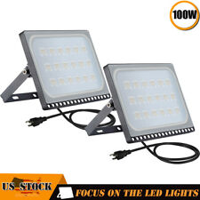 2X 100W Led Flood Light Garden Path Outdoor Security Lamp Us Plug Warm White