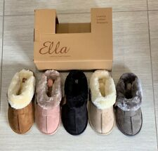 Ladies Ella Jill Faux Fur Lined Suedette Slippers Mules Comfy Memory Foam Vegan