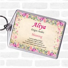 Aliya Name Meaning Bag Tag Keychain Keyring  Floral