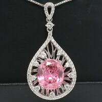 Large 5CT Pear Pink Sapphire Necklace Pendant Women Jewelry 14K White Gold Plate