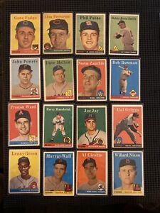 vintage 1958 topps baseball cards lot (16) high number stars vets RC B/W Letters