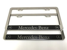 "(2) STAINLESS STEEL CHROME Polished Metal License Plate Frame - MB ""REV"" C2"