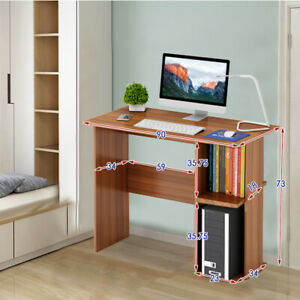 Small Desk Computer PC Laptop Table Workstation Study Home Office Table Shelves