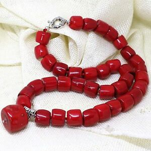 Natural Red Coral Irregular Tube Barrel Beads Pendant Necklace 18'' PN751