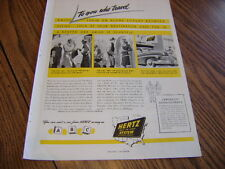 """HERTZ DRIV-UR-SELF AD 1947 TO YOU WHO TRAVEL 14"""" X 10""""  RENT A CAR FROM HERTZ"""