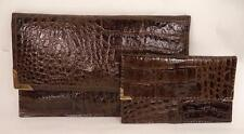 VINTAGE BROWN CROC PRINT LEATHER CLUTCH BAG WITH MATCHING PURSE