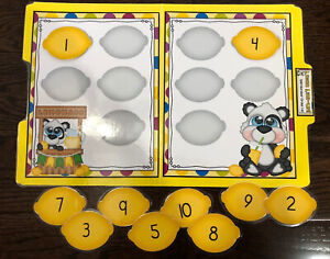 Lemon LineUp Number Sequence 1-10 Preschool Math Center File Folder Game Teacher