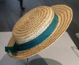 """Vintage NOS Straw Doll Hat Made in Japan Green Ribbon 10"""" around inside 1606"""
