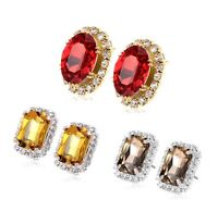 Red ruby Lucky Rhinestone Big round Stud earrings Yellow gold filled statement