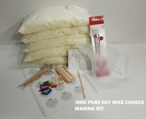 10KG CANDLE MAKING KIT 100% Soy Wax, Stickums, Wicks, Holders Complete Set