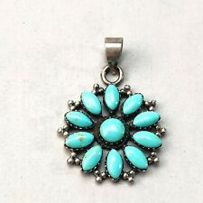 Southwest sterling silver turquoise floral pendant 5.3g