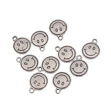 10pcs Smile Face Round Beads Charms Tibetan Silver Pendant Fit DIY 12*12mm