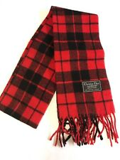 Vintage Men's Christian Dior Red/Black Wool Plaid Fringe Scarf B5