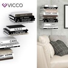 VICCO Unsichtbares Bücherregal GHOST 4er Set Wandregal Regal Metall Buchregal