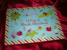 TROPICAL PINK FLAMINGO, FLORIDA GATOR 12 DAYS of  CHRISTMAS  GLASS CUTTING BOARD