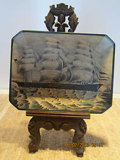 """NAUTICAL DECOR, PAINTED SHIP, CLAY PLATTER"""""""