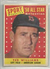 Ted Williams 1958 Topps Boston Red Sox All Star Baseball Card #485
