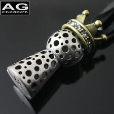 """Crown jack style fashion steel pendant with 30"""" black leather necklace US SELLER"""