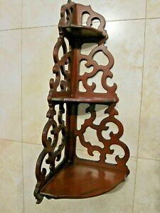 Vintage Ornate 3 Tier Corner Wood Hanging Wall Shelf 23 1/2 inch FretWork Scroll