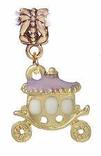 Princess Carriage Lavender Purple Gold Plated Dangle Charm for European Bracelet